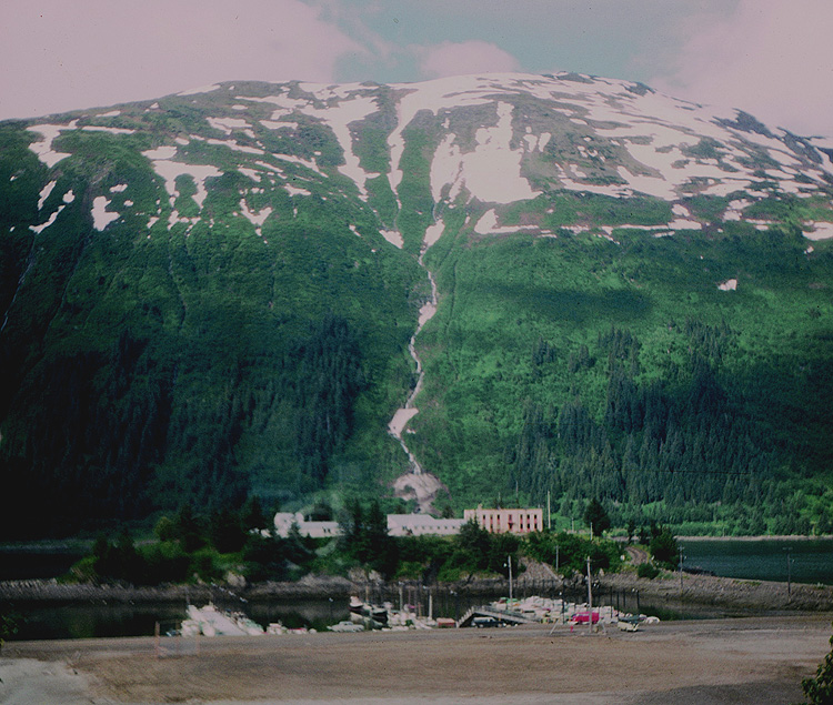A 1964 View of Douglas Boat Harbor, Mayflower (Juneau) Island, and Mt. Roberts.