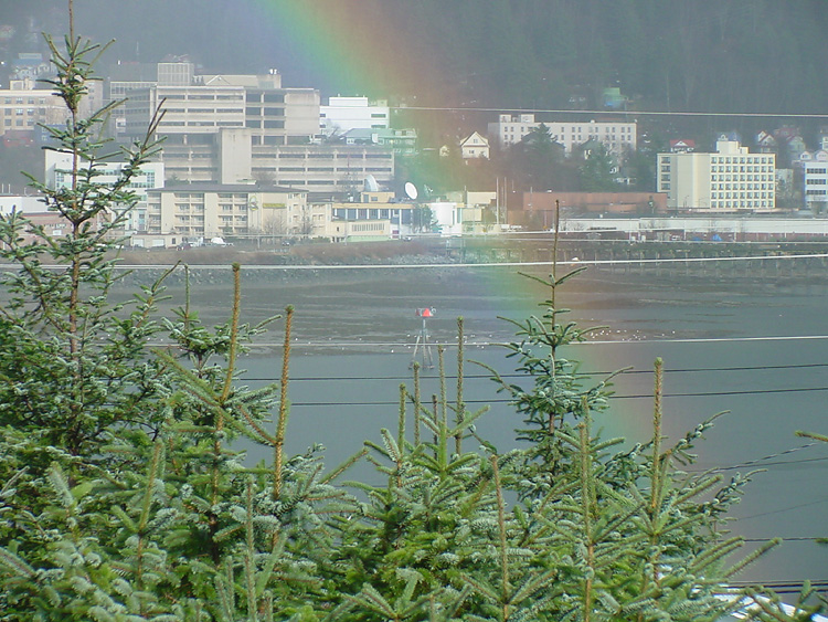 A Rainbow, Channel Marker #4, Tideflats at the mouth of Gold Creek, and part of Juneau.