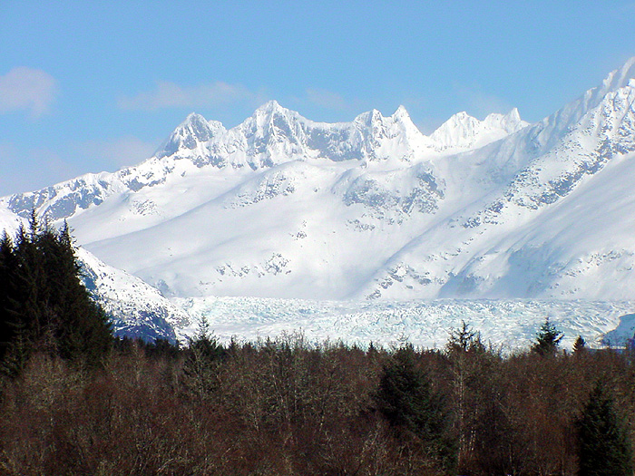 The Mendenhall Towers and Mendenhall Glacier.