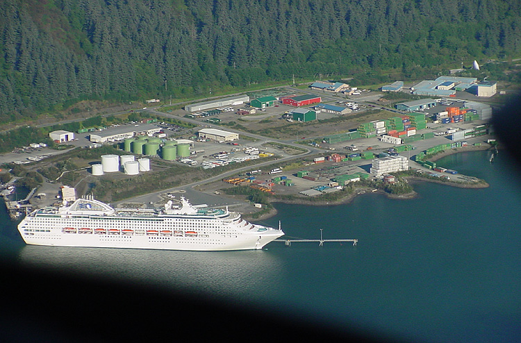 The Sun Princess and the AJ Rock Dump at the foot of Mt. Roberts.