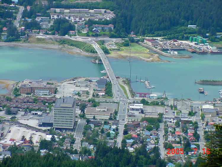 Part of Downtown Juneau, the Bridge, and the Roundabout in West Juneau.