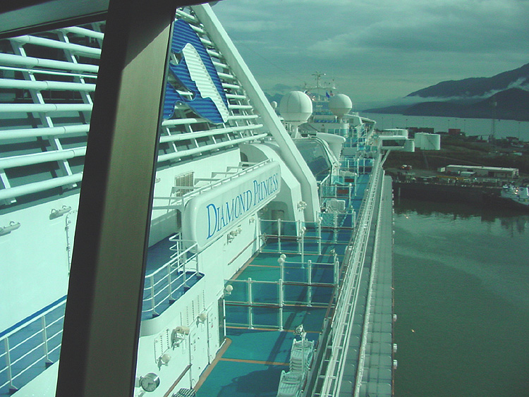 A view from the Skywalkers Nightclub, Deck 17, on the Diamond Princess.