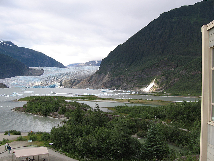Mendenhall Glacier and Lake, Nugget Falls, and Photo Point Trail is in the center.