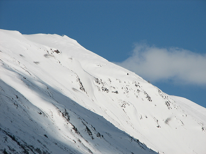 Gastineau Peak and the top of Snowslide Creek after Avalanche Control Work.