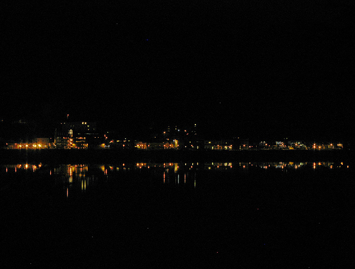 Reflection of Waterfront Lights in the Downtown Harbor.