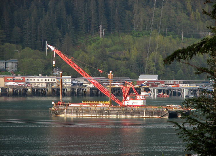 Manson Contruction's Derrick Scandia in the Juneau Harbor.