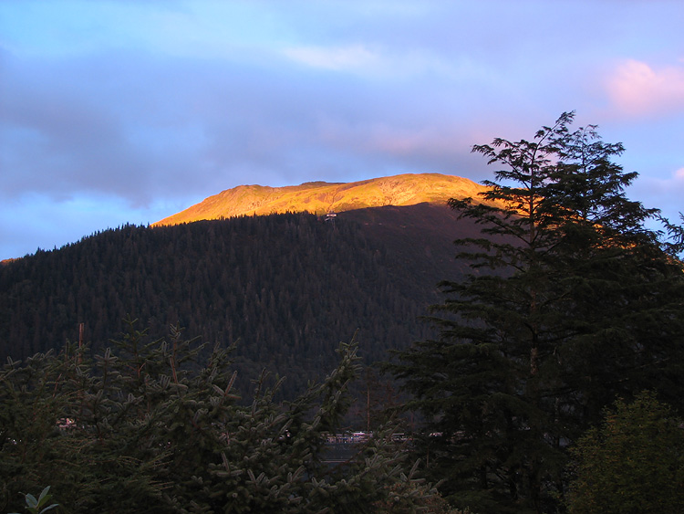 Orange Glow on the Very Top - Top of Mt. Roberts.