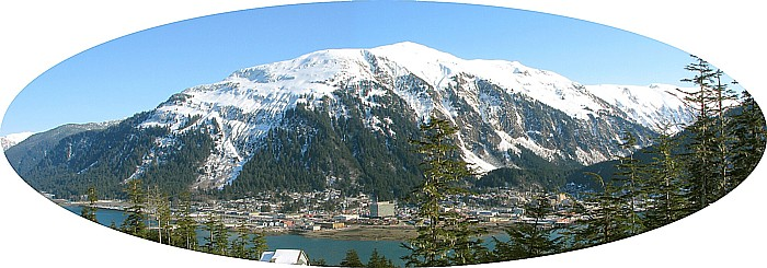 Panorama of Downtown Juneau at the Base of Mt. Juneau.