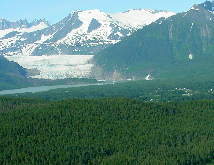 The Mendenhall Valley and Glacier.
