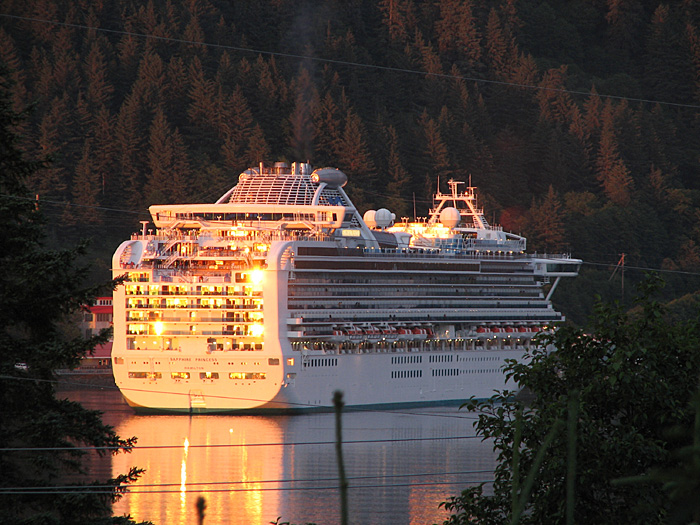 Princess Cruises' Sapphire Princess in the Juneau Harbor.