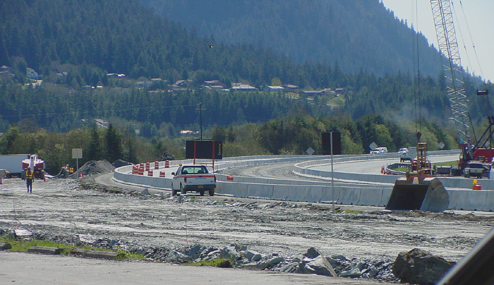 Southbound: Mountainside Estates in the background. Mt. Juneau at the upper right.