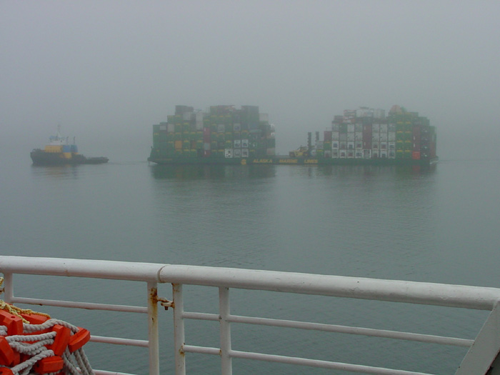 Tug and Barge in Fog - Southeast of Juneau.