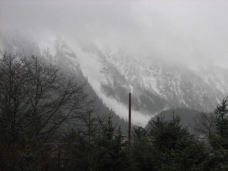 Snow Cloud From A Small Avalanche on Mt. Juneau.