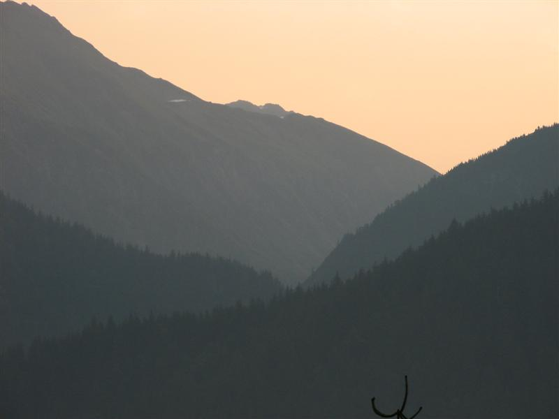 Smoky Dawn over the mainland mountains behind Juneau